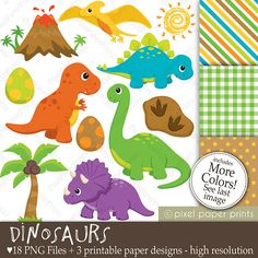 Dinosaurs Clip Art and Digital Paper Set by pixelpaperprints, $5.00