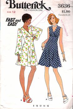Vintage 1973 Butterick 3636 High Waisted Dress Sewing Pattern