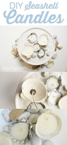 DIY seashell candles - Lolly Jane na Stylowi. Craft Projects For Kids, Diy Crafts For Kids, Fun Crafts, Craft Ideas, Diy Ideas, Diy Projects, Decor Ideas, Diy Candles Design, Seashell Candles