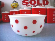 The Kitschy Collectors favorites in vintage kitchen collectibles.  Visit my blog http://cdiannezweig.blogspot.com/ and my site http://iantiqueonline.ning.com/    bakelite* red color utensils by ilovehesby, via Flickr  Mckee??? Red dot bowl* by ilovehesby, via Flickr