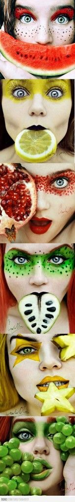 """Fruit Face,"" this picture is so easy on the eye from the makeup colors corresponding to the fruit."
