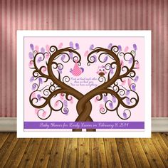 Baby Shower Thumbprint Tree, Guest Book Alternative Babyshower, Baby Guestbook Wall Art Print, Baby Girl, First we each other on Etsy, $28.00