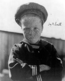 """""""Jay R""""    Jay R. Smith - (8/29/15 - 10/05/2002)  Stabbed to death and left in the desert by    a homeless man he had befriended.Jay Roger Smith (August 29, 1915 – October 5, 2002) was an American former child actor who replaced Mickey Daniels as the """"freckle-faced kid"""" of the Our Gang series in 1925. He continued appearing in the shorts until 1929."""