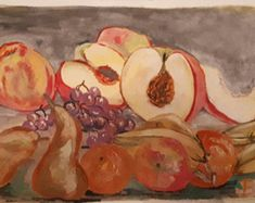 Stilll life in watercolour on handmade paper/ For Sale.... Etsy BrendaArtwork18Shop PART OF THE KITCHEN COLLECTION