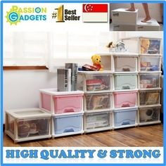 [S$34.90]♥Local Seller♥Strongest Transparent PLASTIC STORAGE CABINET/DRAWER  Stackable