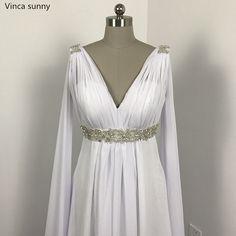 Greek Style Wedding Dresses with Watteau Train 2018 V-neck Long Chiffon Grecian Beach Maternity Wedding Gowns Grecian Bridal