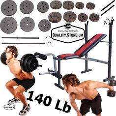 Weight Bench With Weights Set Bar Press Dumbells Adjustable Barbell Home Gym Lb #InnovaFitness