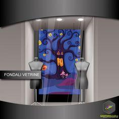 Fondale vetrine - halloween - albero stregato - Santorografica Shop