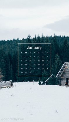 Winter cabin snow forest background January calendar 2017 wallpaper you can download for free on the blog! For any device; mobile, desktop, iphone, android!