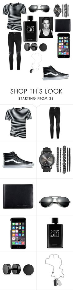 """""""Untitled #658"""" by martialartsqueen ❤ liked on Polyvore featuring Topman, Vans, Status Anxiety, County Of Milan, Giorgio Armani, Bling Jewelry and Diesel"""