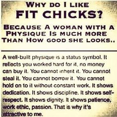 Why do I like FIT CHICKS? Because a woman with a physique is much more than how good she looks...