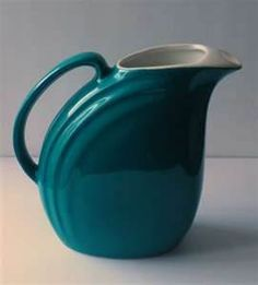 """Hall pottery,teal """"Nora"""" pitcher,art deco, 1950's."""