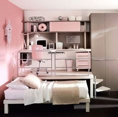 Small Bedroom Ideas for Cute Homes  Small-Teen-Bedroom-Design-for-Girl Even though my bedroom is a medium size that I am happy with, this seems like a fantastic idea!  http://www.coolhomedecordesigns.us/2017/06/23/small-bedroom-ideas-for-cute-homes/ #BeddingIdeasForTeenGirls