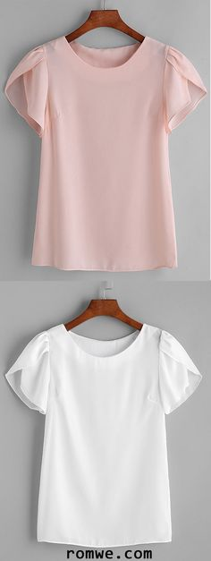 Pink Pleated Cap Sleeve Chiffon Blouse
