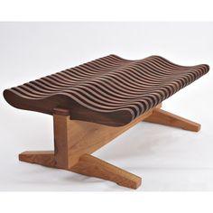 David Stine Woodworking Wave Walnut Bench   AllModern