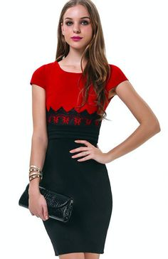 Red & Black Lace Waist Short Sleeve Dress