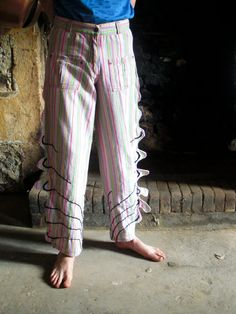 Upcycled cotton vintage trousers with Dragon shaped by MeltedMama