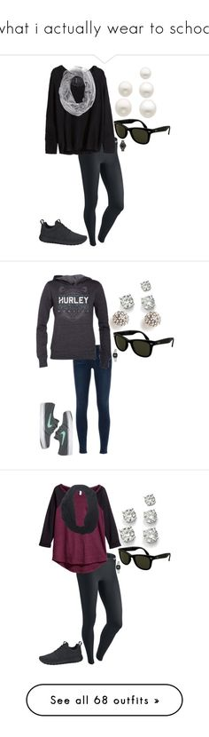 """what i actually wear to school"" by madi-wt ❤ liked on Polyvore featuring NIKE, H&M, Hurley, Ray-Ban, Karl Lagerfeld, Reeds Jewelers, J Brand, Saks Fifth Avenue, Casio and Wet Seal"