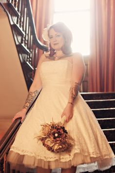 Red head bride, tea length wedding dress and DIY bouquet