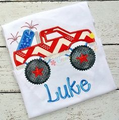 Monster Truck with Fireworks Applique - 4 Sizes! | What's New | Machine Embroidery Designs | SWAKembroidery.com Creative Appliques