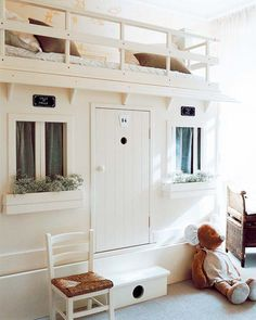 The sweetest idea for a child's bedroom - top bunk with play house below