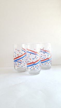 July 4th Patriotic Juice Glass Set- 3pc Olympic Trails, USA, Fourth, America, Red, White, Blue, Star Spangled, PArty, Picnic