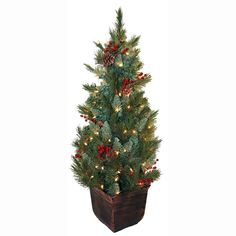 General Foam 4 ft. Pre-Lit Pine Artificial Christmas Tree with Berries and Pine Cones-HD-E149C1P - The Home Depot