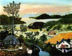 Anna Mary (Grandma) Moses, A Beautiful World, Naive art Grandma Moses, Claude Monet, Pablo Picasso, Vincent Van Gogh, Naive Art, Famous Artists, American Artists, Beautiful World, Art History