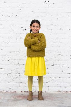 bold skirt with matching tights and boots paired with a chunking neutral green sweater Pink Lady, Winter Fashion Outfits, Kids Fashion, Stylish Kids, Kid Styles, Mellow Yellow, Girls Wear, Cool Kids, Cool Outfits