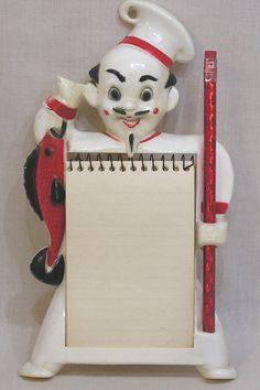White 1950s chef kitchen wall memo pad holder