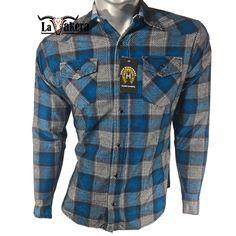 95af11525 Camisa Vaquera A Cuadros (Franela) Modelo GRH11 AZUL REY