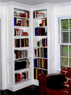 Built In Corner Bookcase Units Crown And Base Molding To Tie With Rooms Existing Trim Painted Cabinets Constructed From Paint Grade Birch Plywood