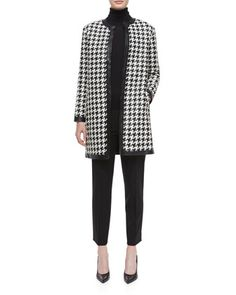 Adelle Woven Leather Houndstooth Coat, Cashmere-Silk Knit Turtleneck Top & Wool Side-Zip Ankle Pants by Ralph Lauren Black Label at Neiman Marcus.