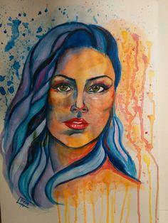 #watercolor #acquerello #riratto #portrait #beautifulwoman #viso #girl