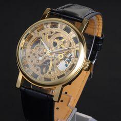 Luxury PU Strap Automatic Mechanical Skeleton Roman Numerals Wrist Watch Golden
