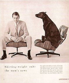 Eames lounge chair in Lebow men's suit ad, Vouge 1956 Lounge Chair, Chair And Ottoman, Sofa Chair, Interior Ikea, Interior Decorating, Chair Drawing, Charles & Ray Eames, Chair Makeover, Eames Chairs