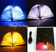 FREE SHIP!  Novelty BOOK LAMP! LED Light Nerd Geek Decor USB Lighting Gift NEW
