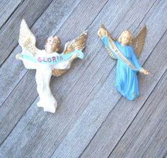 2 Religious Shop Angels  White & Blue Vintage by MintysMercantile