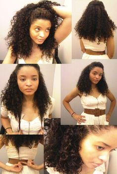 Cute half up, half down hair style! To learn how to grow your hair longer click here - http://blackhair.cc/1jSY2ux