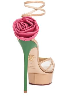 CHARLOTTE OLYMPIA Rose Sandal with Rose and Leaf in Chartreuse & Nude