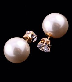 Clear Rhinestone Stud & Cream Faux Pearl Double Sided Earrings #The Treasure Within #Statement