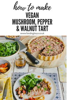 Vegan Mushroom, Roasted Pepper and Walnut Tart on feedingboys.co.uk