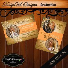 New Brown Glam Grunge Senior Graduation Announcement