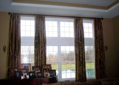 These caramel brown are classy and a great subtle addition to this room. Silk Drapes, Drapery, Curtains, Caramel Brown, Great Rooms, All About Time, Master Bedroom, Classy, Home Decor