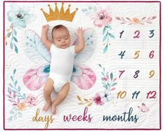 Oh How They Grow -Little Princess Panel x Kaufman-My Favorite Quilt Store Grow Butterflies, Baby Milestone Blanket, Milestone Blankets, Baby Growth, Panel Quilts, Robert Kaufman, Quilt Kits, Baby Milestones, Easy Quilts