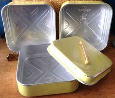 Nilsjohan Sweden Swedish tin can/metall bread box 3 parts