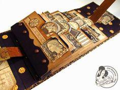 The inside of Jim Hankins vintage wallet. Papel Scrapbook, Scrapbook Journal, Scrapbooking, Mini Albums Scrap, Mini Scrapbook Albums, Graphic 45, Memory Album, Handmade Books, Handmade Cards