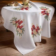 Candle and Baubles Tablecloth, 80 x 80cm Stamped Cross Stitch Kit | sewandso