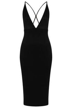**Plunging V Cross Back Bodycon Dress by Oh My Love