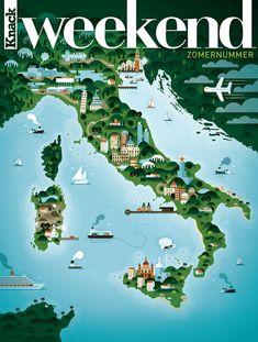 Weekend Knack è una rivista belga di moda, viaggi, lifestyle e gastronomia: lo studio grafico Khuan+Ktron ne ha curato una serie di copertine incentrate su alcuni stati europei, tra cui l'Italia.